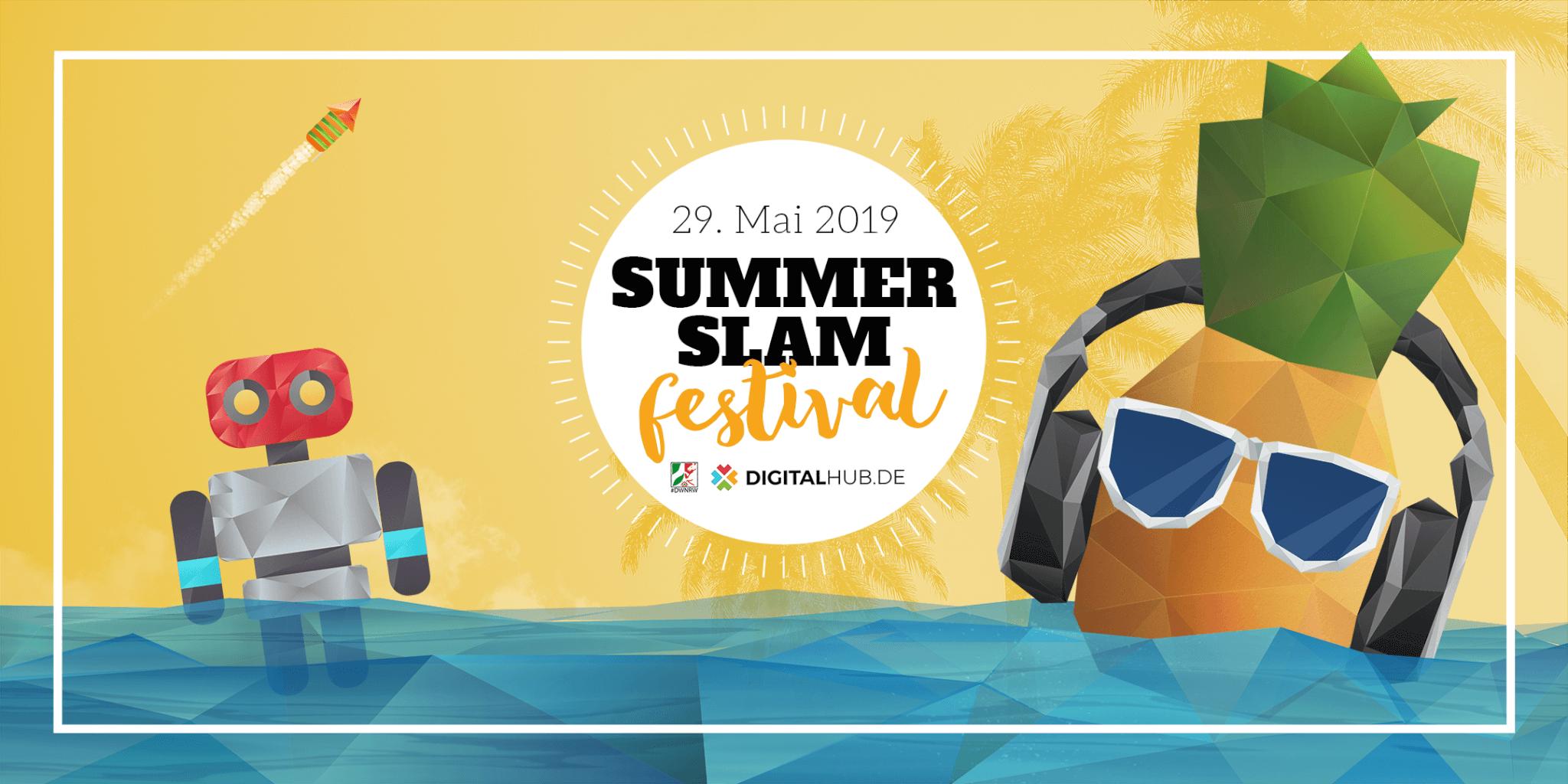Ananas mit Kopfhörern und Roboter schwimmen im Wasser, eine Rakete fliegt im Hintergrund und kündigen das Summer Slam Festival an.